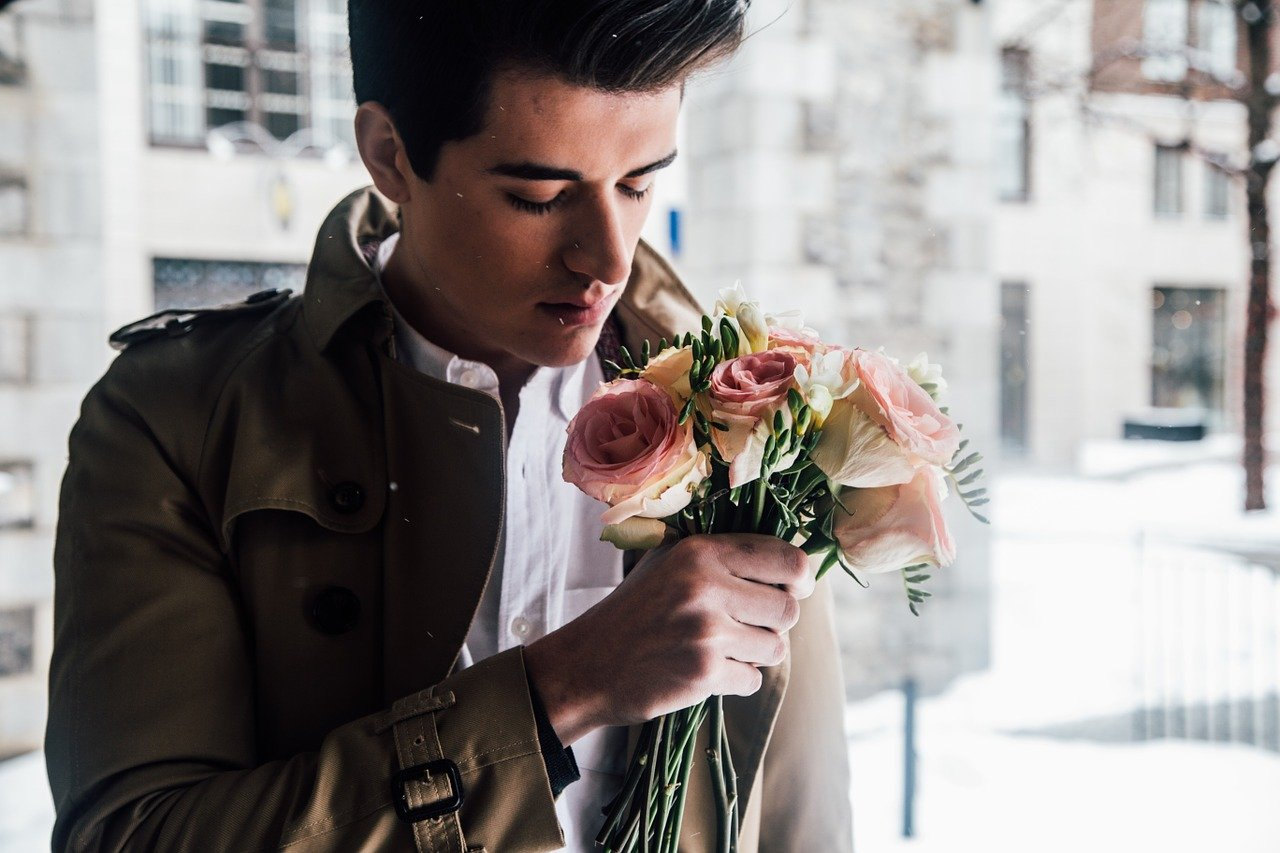 man, model, flowers
